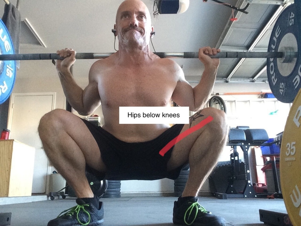 Squatting with hips below knees